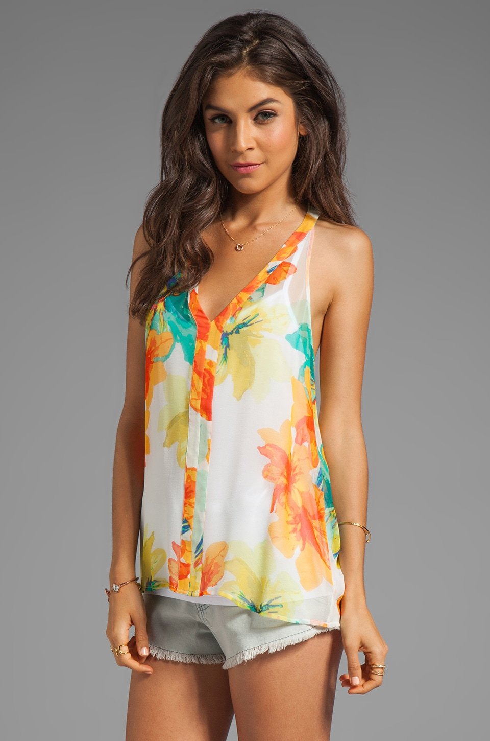 Ella Moss Hibiscus Floral Silk Tank in White