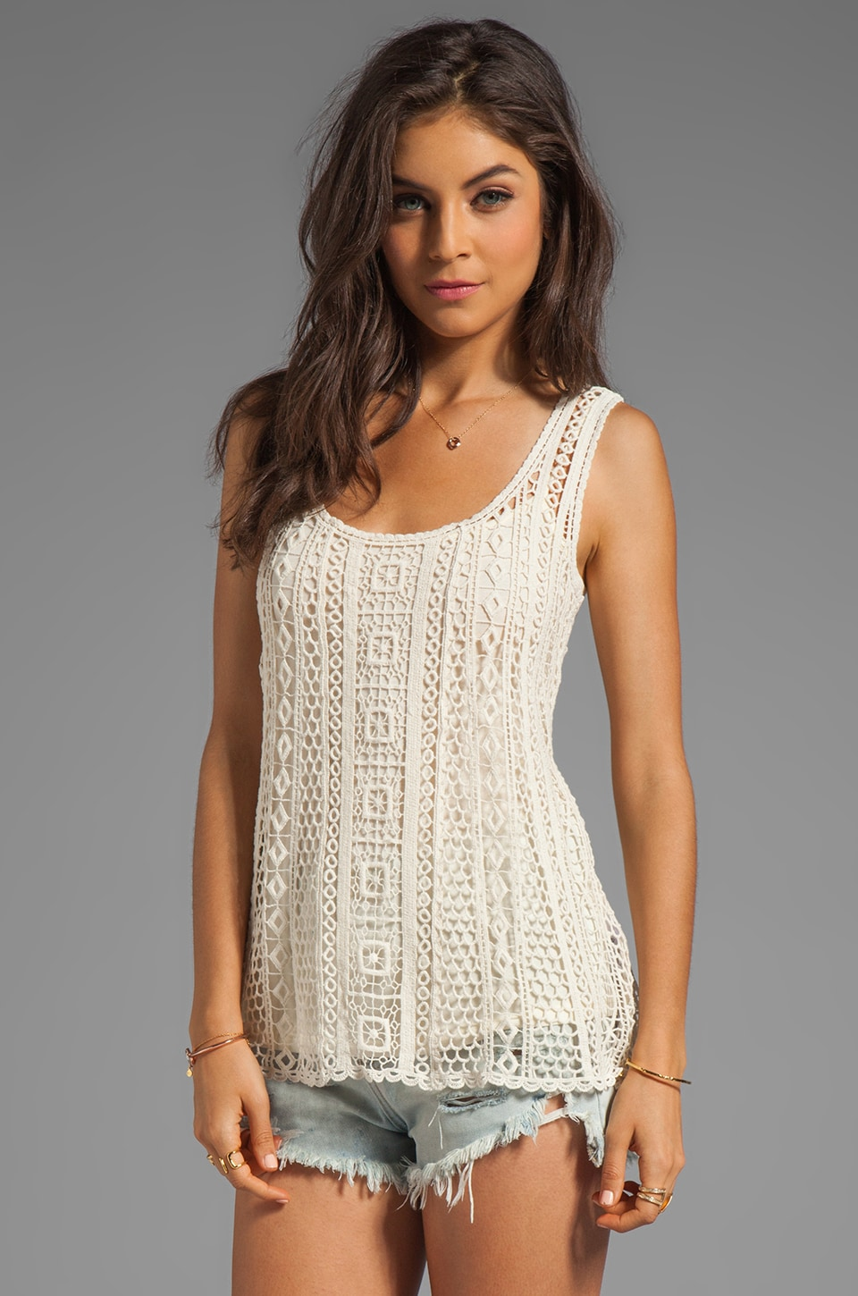 Ella Moss Hailee Crochet Tank in Natural