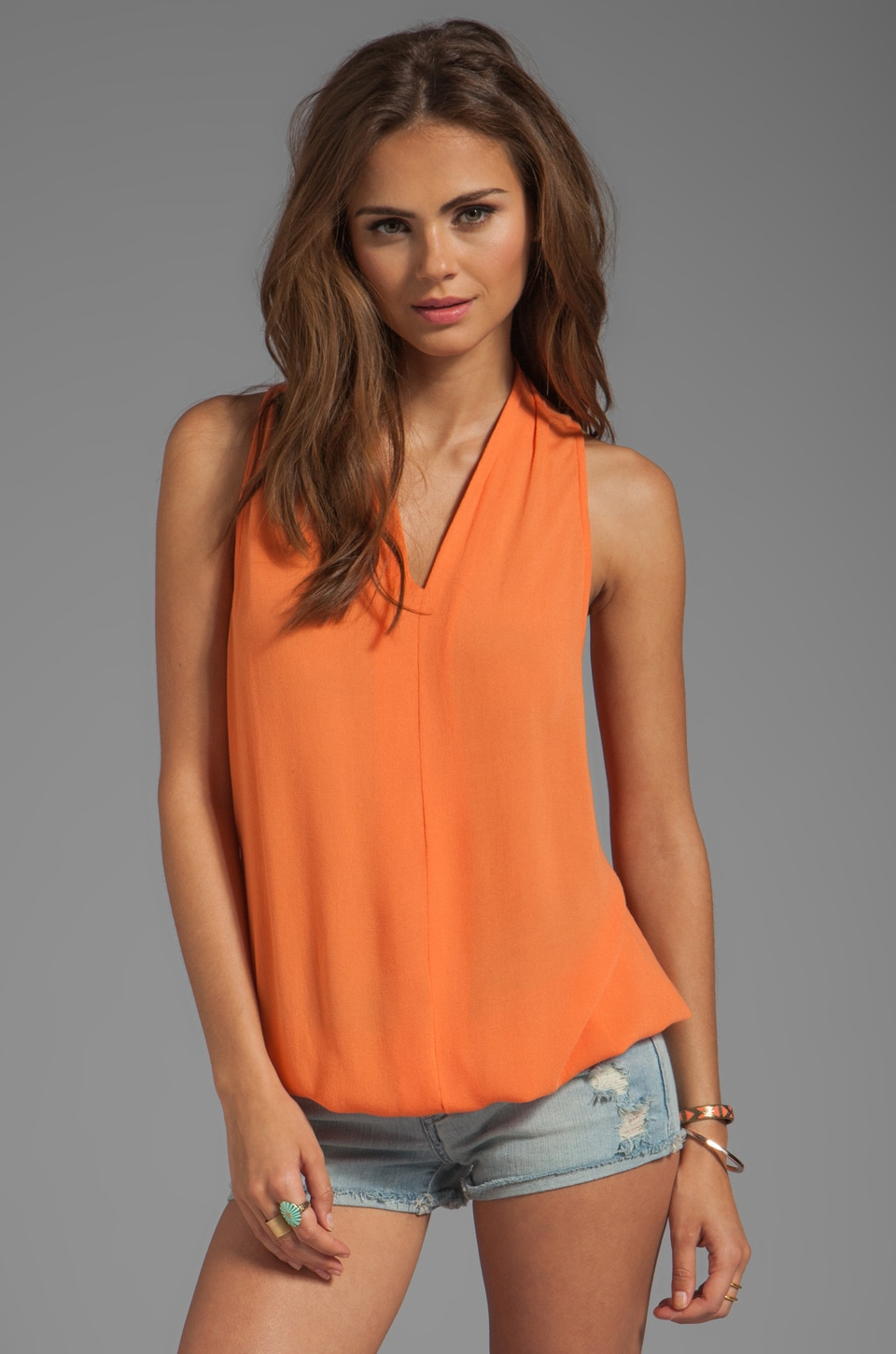 Ella Moss Stella V Neck Tank in Sunset