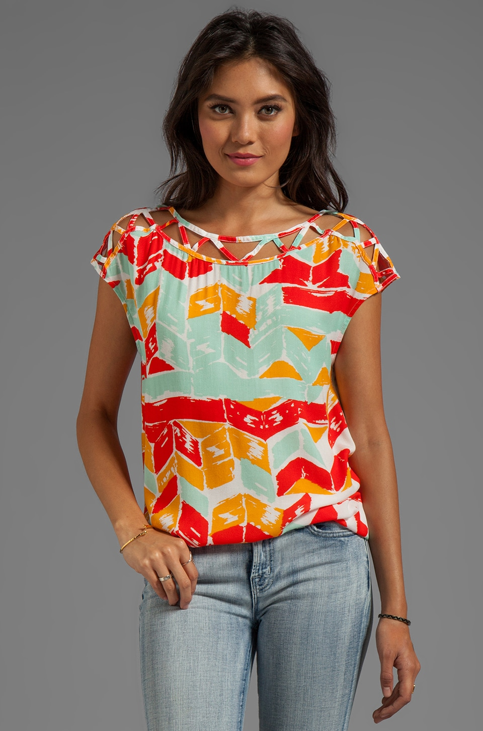 Ella Moss Totem Post Short Sleeve Top in Tomato