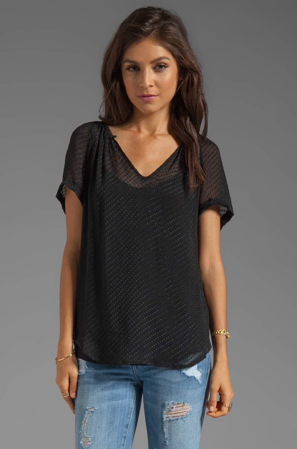 Ella Moss Parisienne Short Sleeve Silk Top in Black