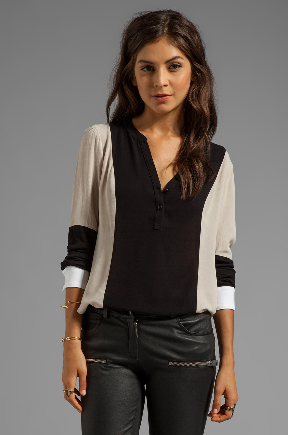 Ella Moss Stella Long Sleeve Top in Black