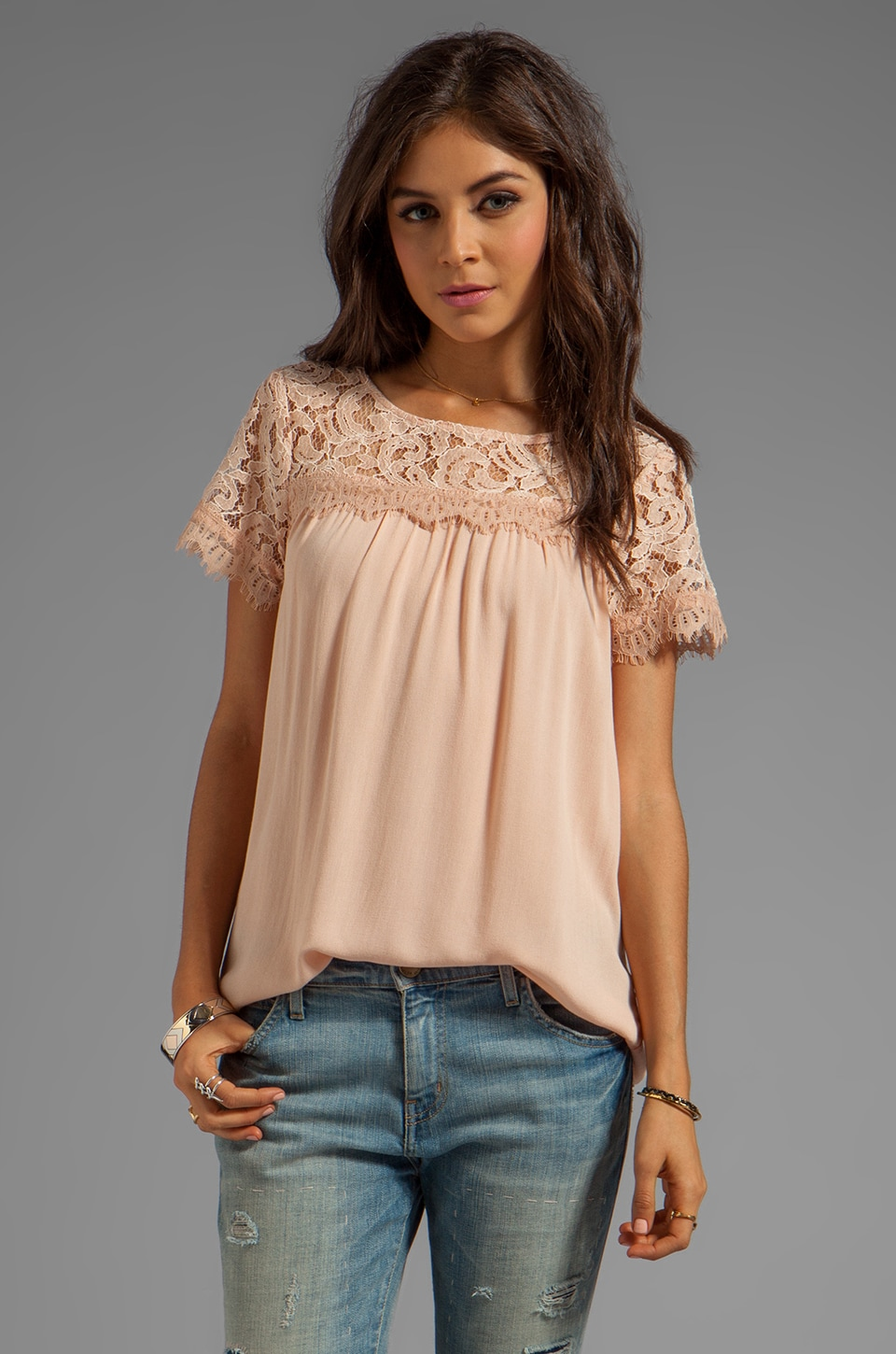 Ella Moss Victoria Short Sleeve Top in Blush