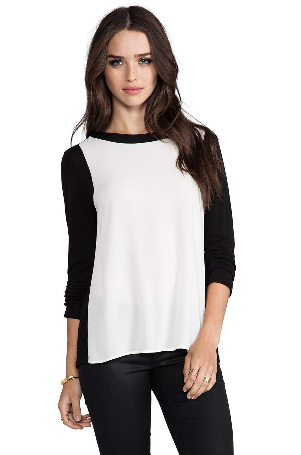 Ella Moss Portia Long Sleeve Top in Black