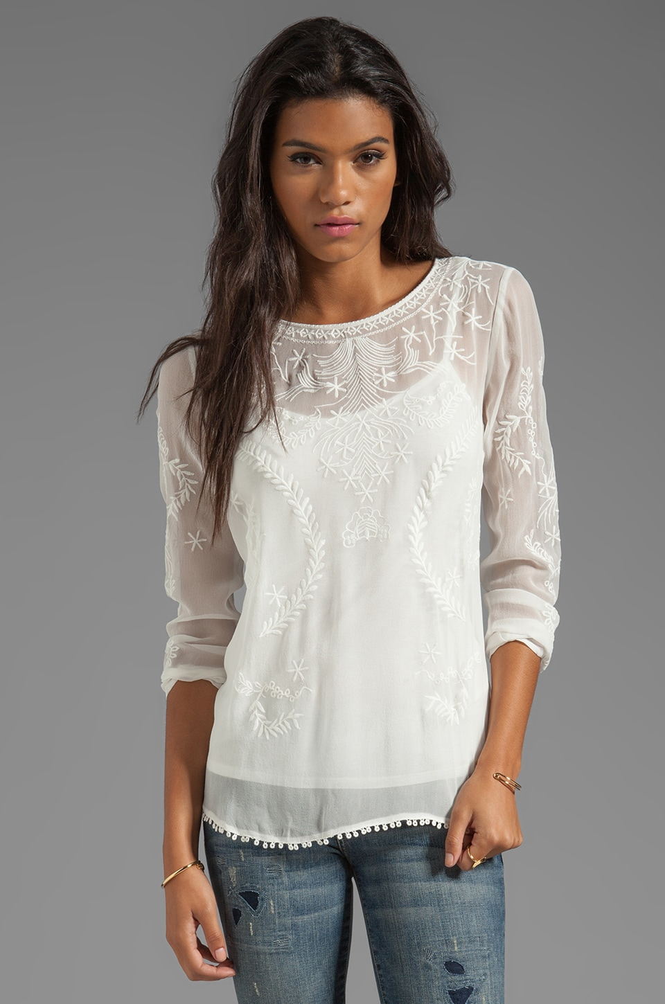 Ella Moss Tilly Long Sleeve Top in Natural