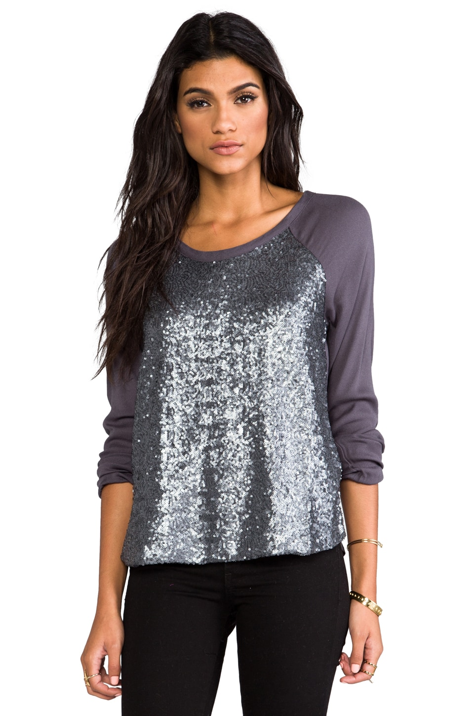Ella Moss Sheena Long Sleeve Tee in Gunmetal
