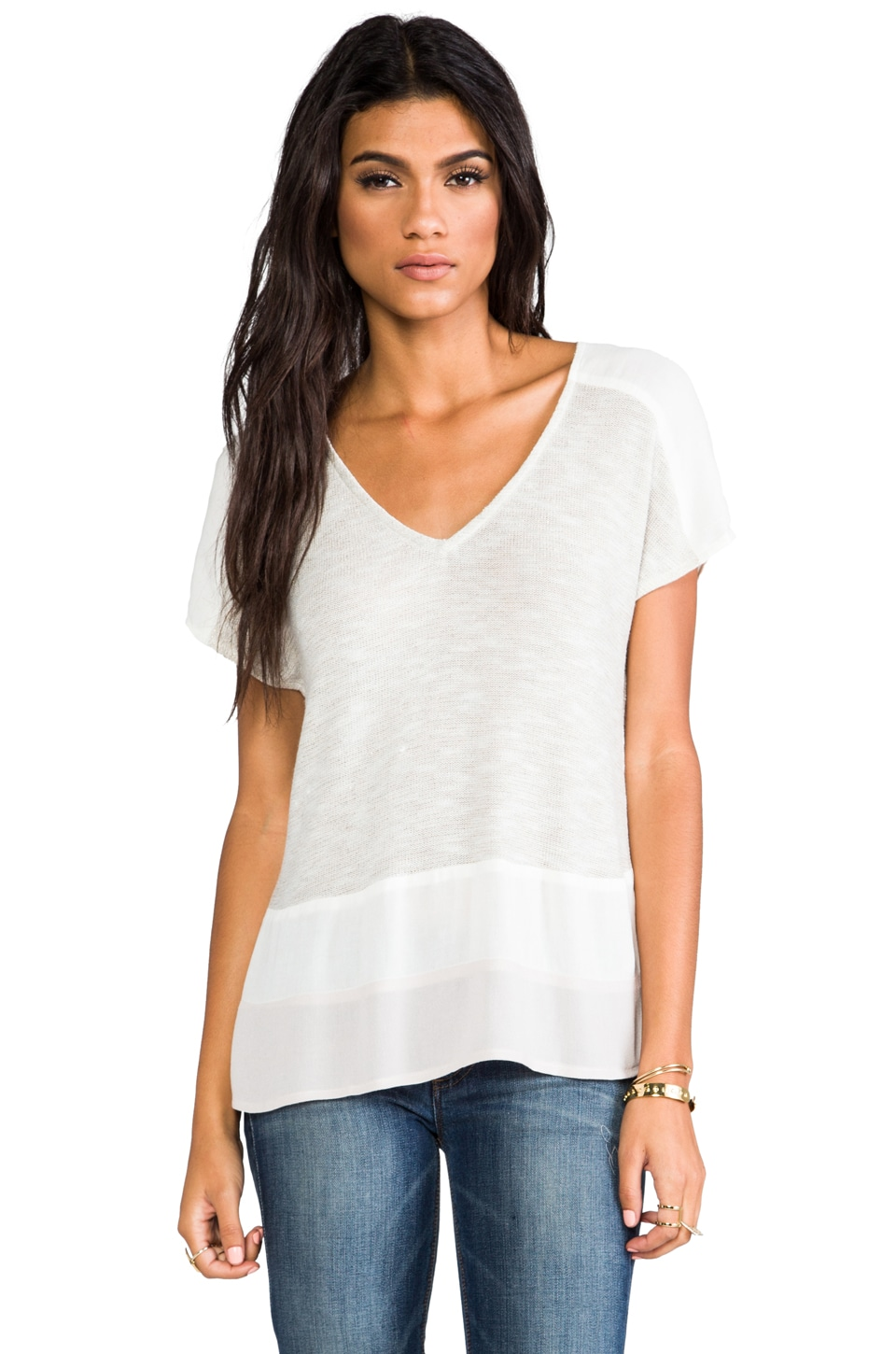 Ella Moss Roxie Short Sleeve Tee in Natural