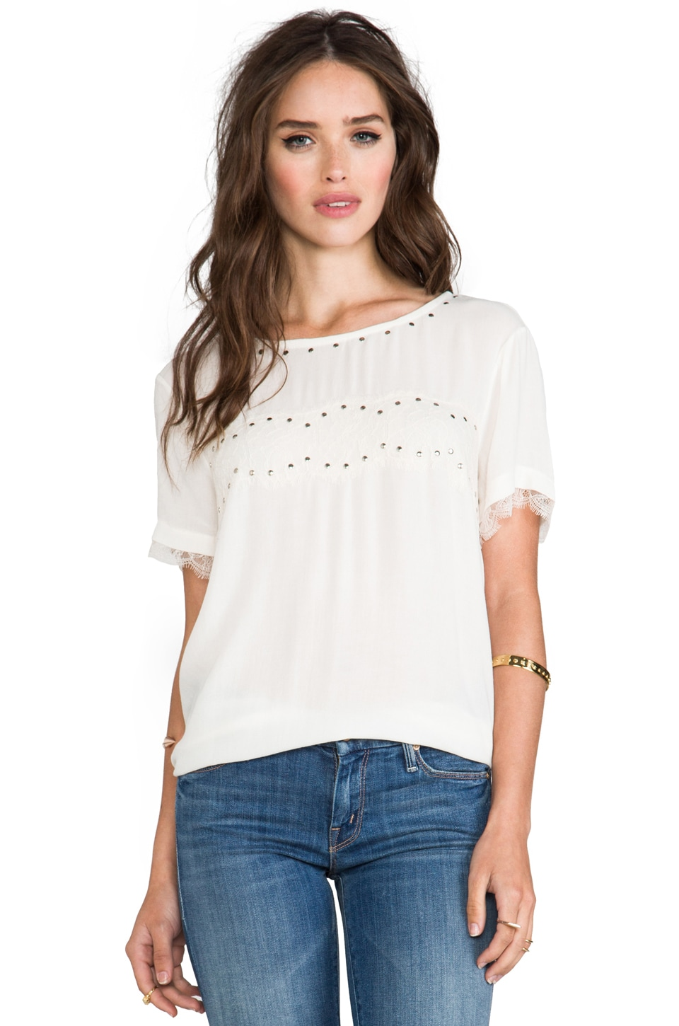 Ella Moss Chrissie Short Sleeve Tee in Natural