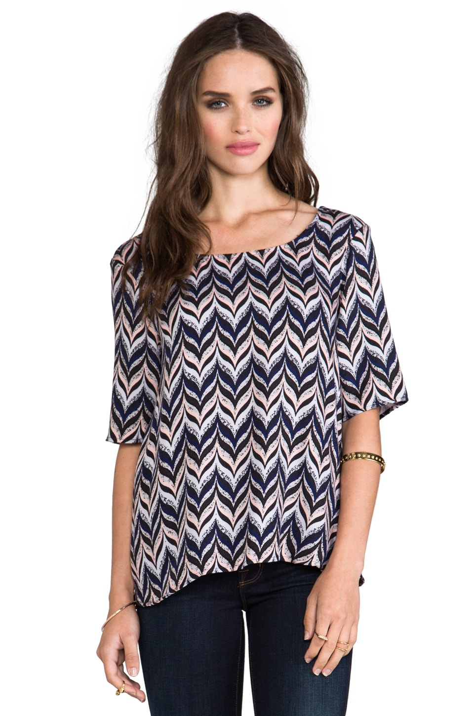 Ella Moss Quill Zig Zag Top in Midnight