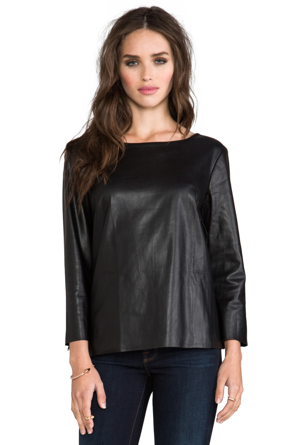 Ella Moss Sandra Faux Leather Long Sleeve Top in Black