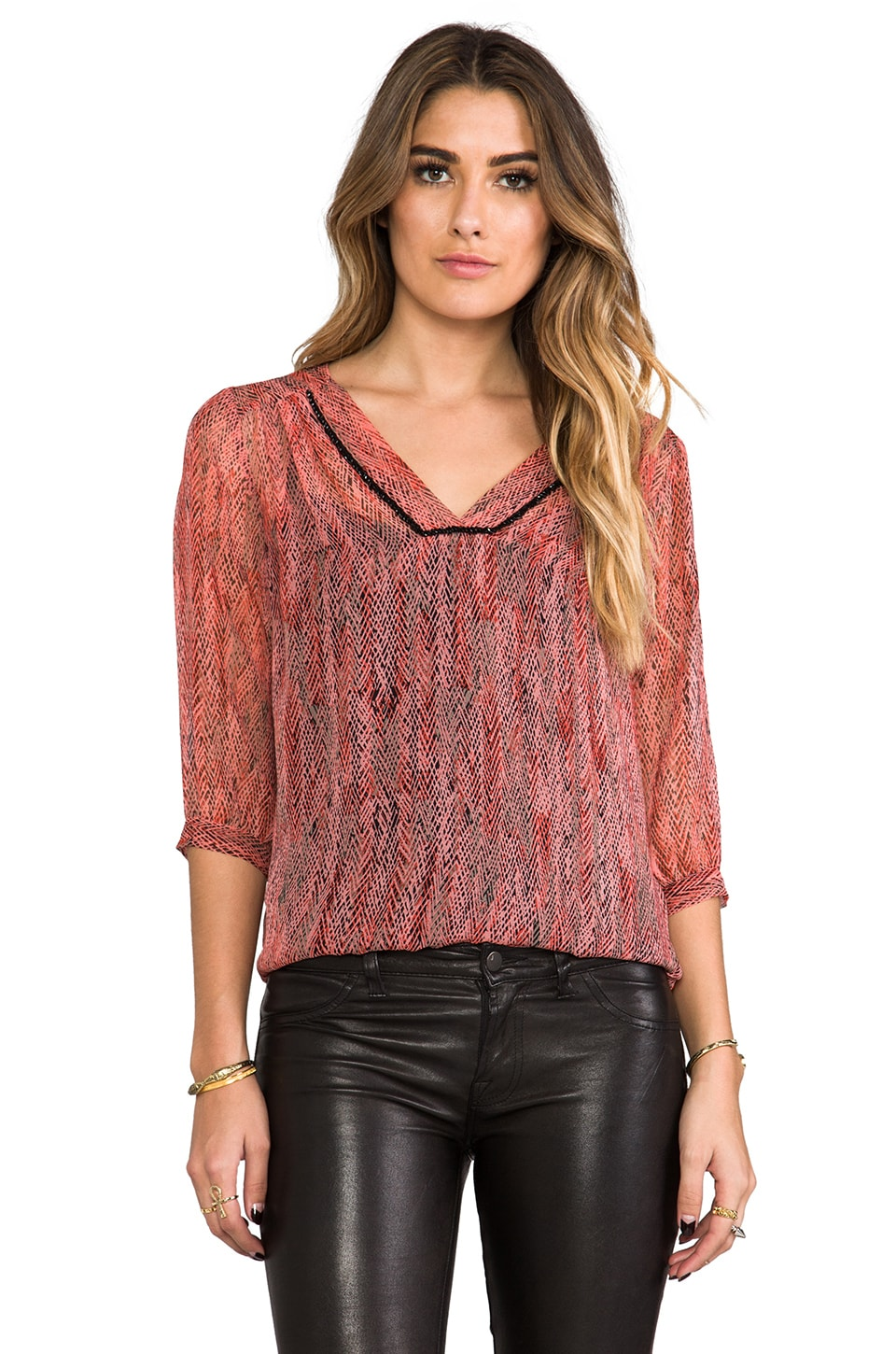 Ella Moss Hailey V Neck Blouse in Carmine