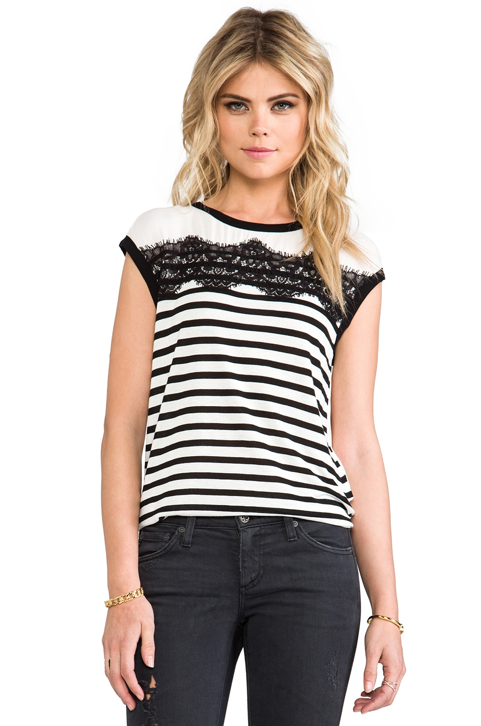 Ella Moss Cara Lace Striped Top in Black