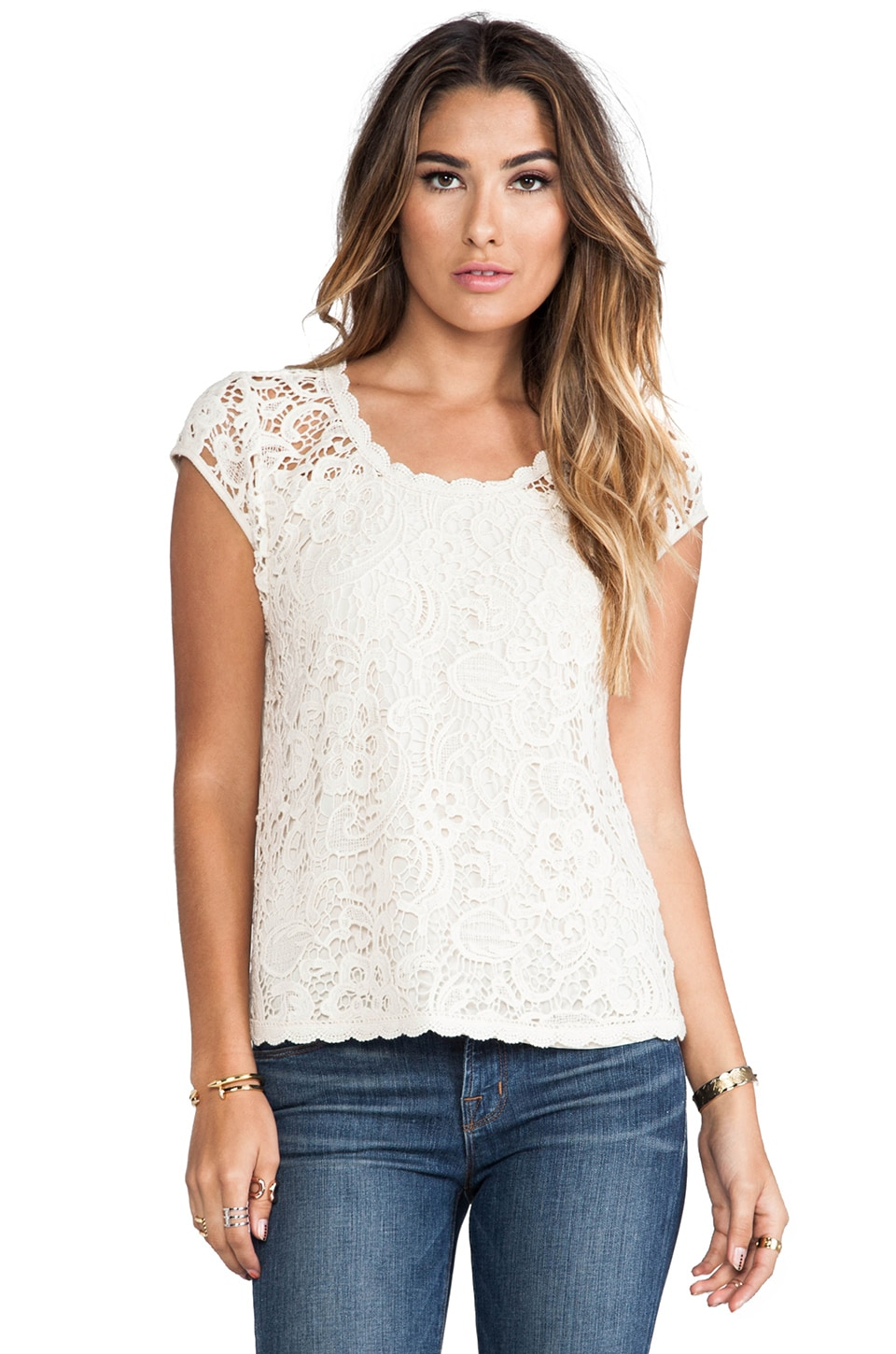 Ella Moss Jaime Lace Tank in Natural