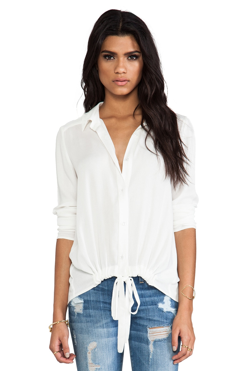 Ella Moss Stella Tie Front Blouse in Natural