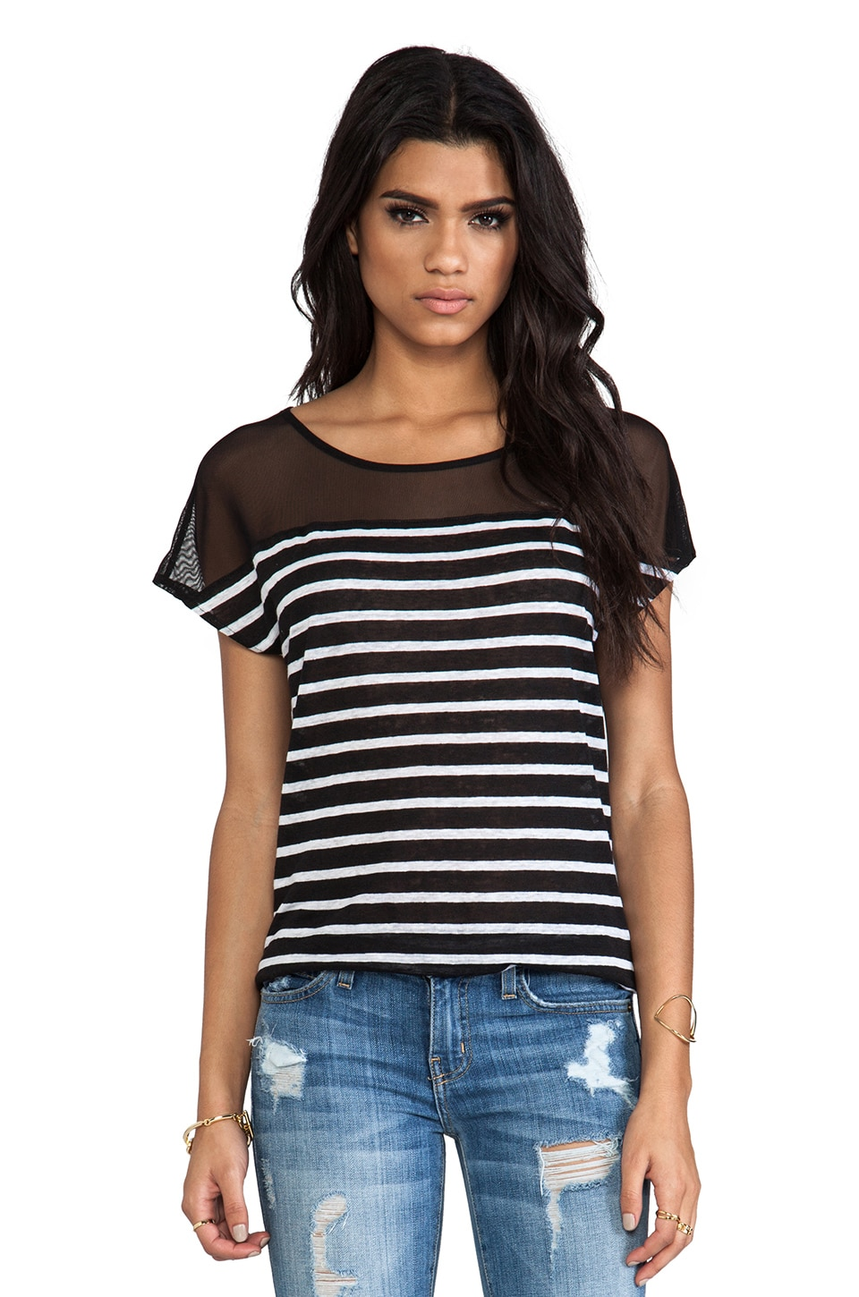 Ella Moss Lille Striped Tee in Black