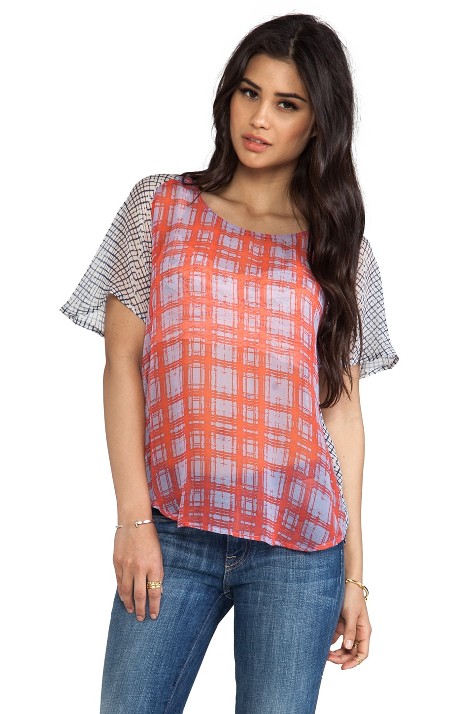 Ella Moss Paige Plaid Tee in Cornflower