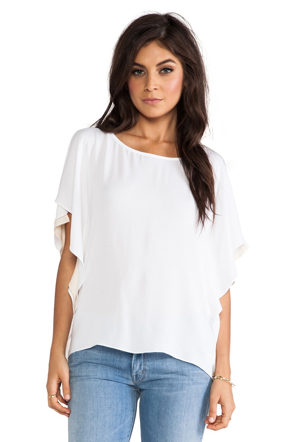 Ella Moss Stella Top in White & Nude