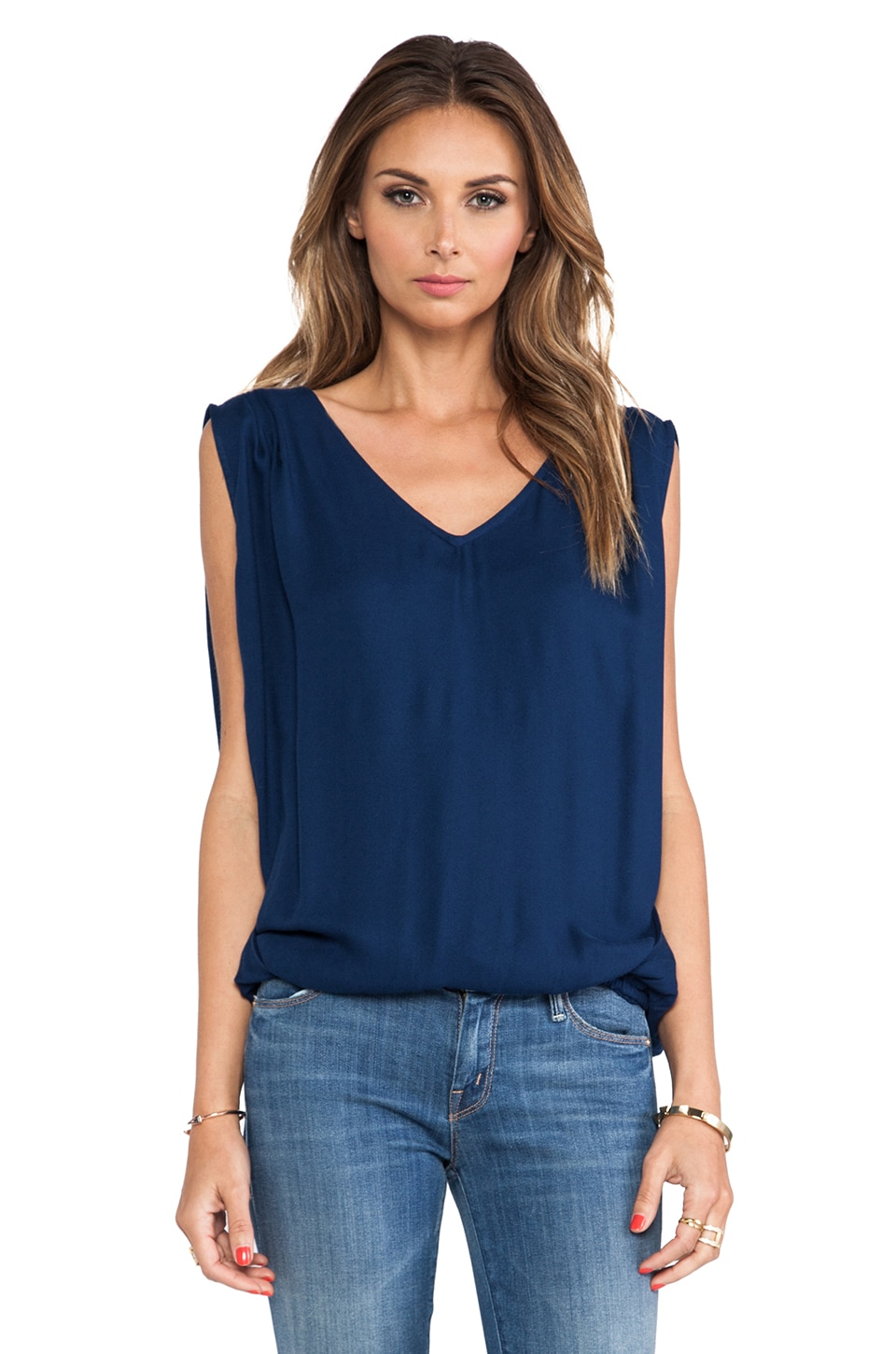 Ella Moss Stella Sleeveless Top in Navy