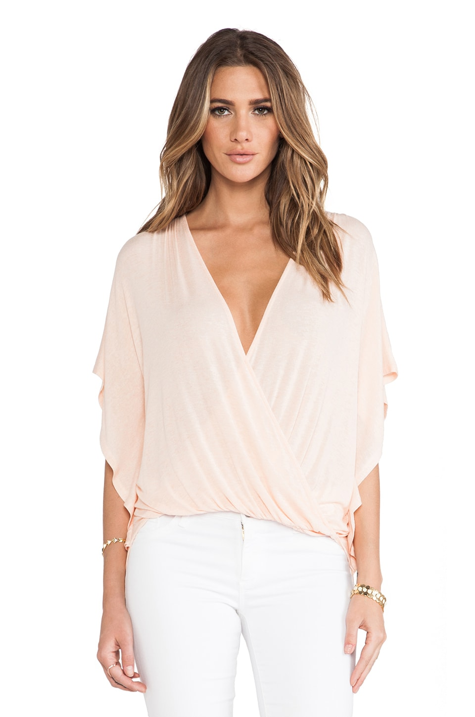 Ella Moss Icon Crossover Blouse in Peach