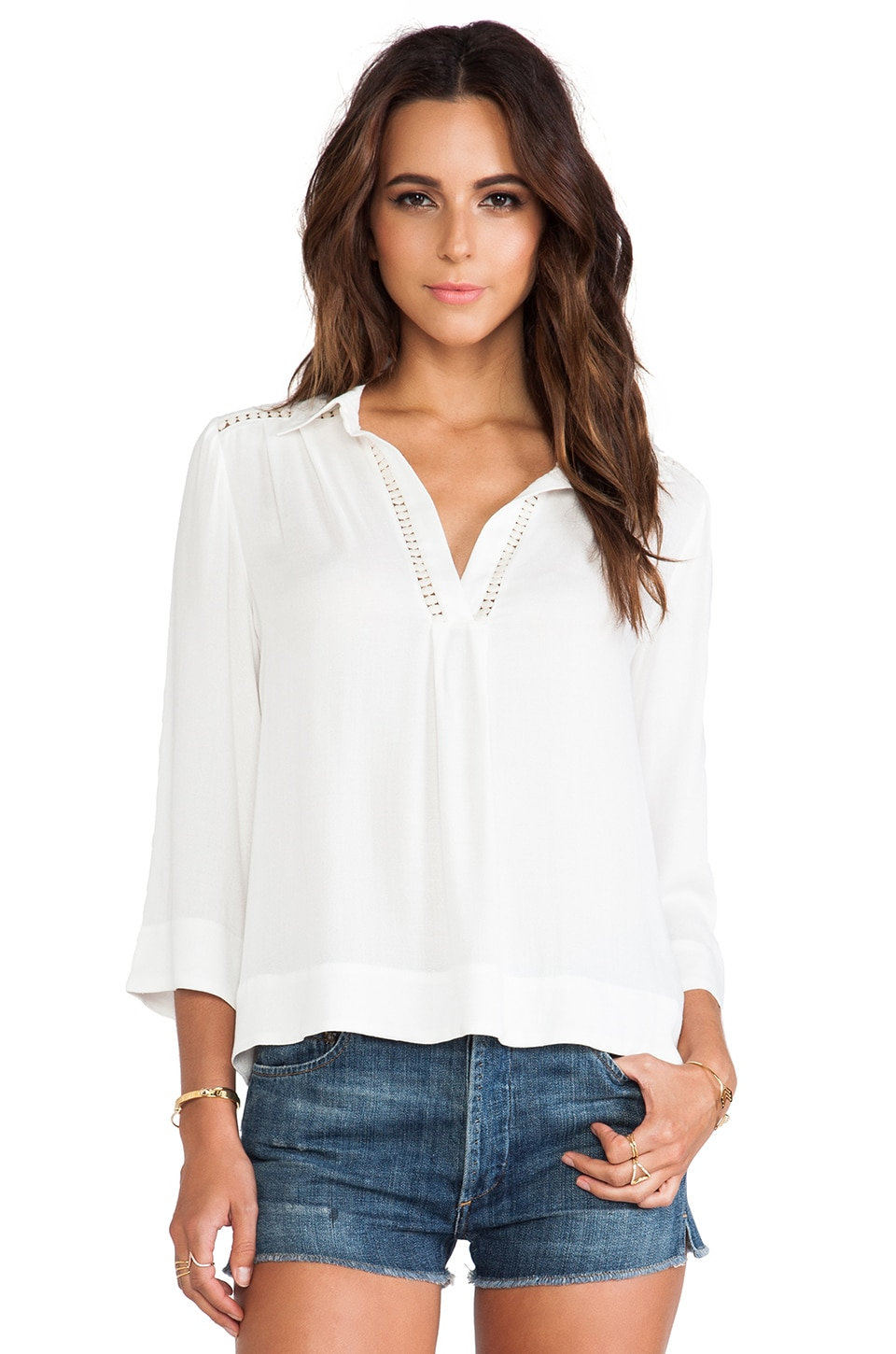 Ella Moss Stella Collared Blouse in Natural