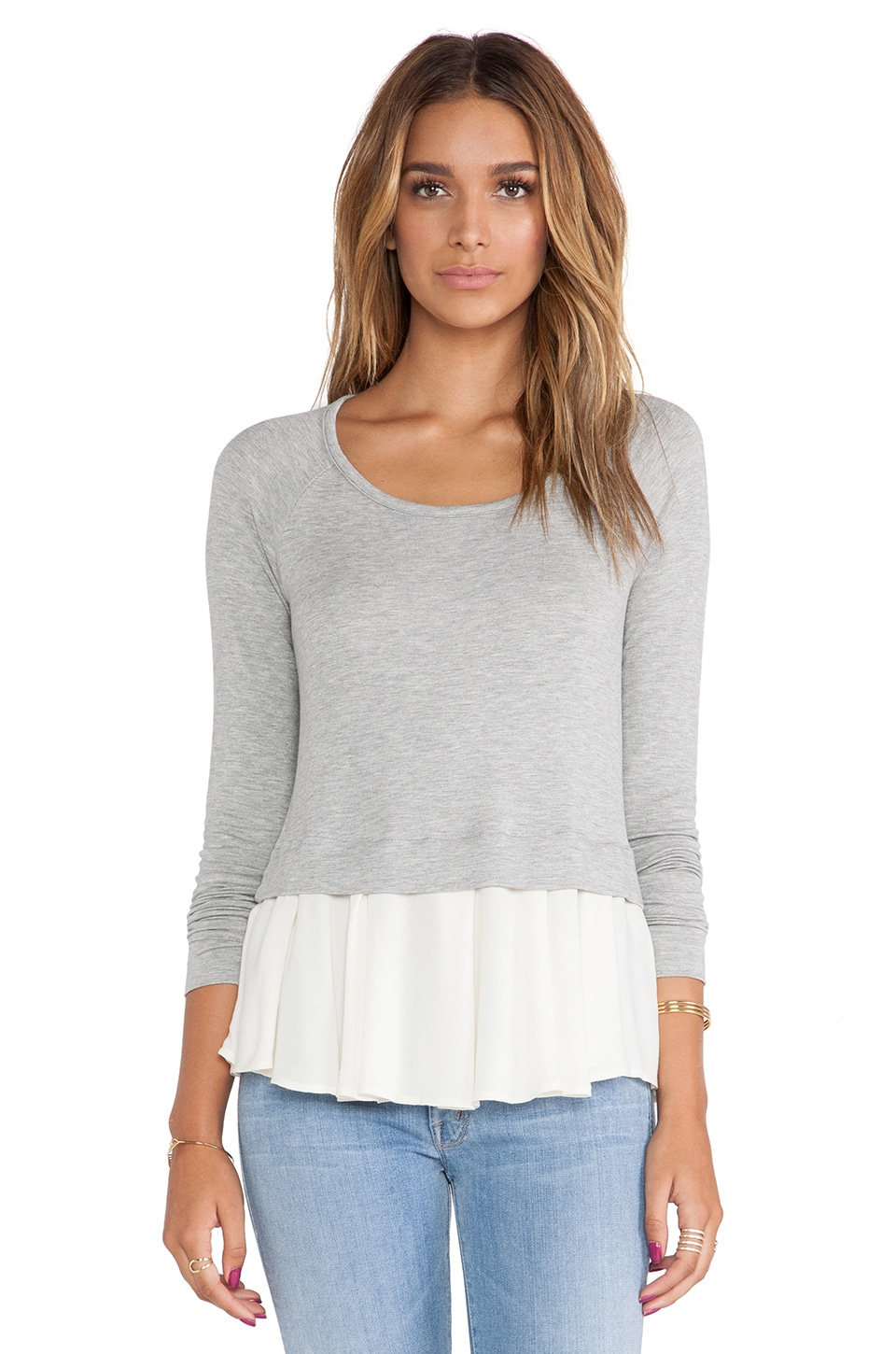 Ella Moss Stella Top in Heather Grey & Cream