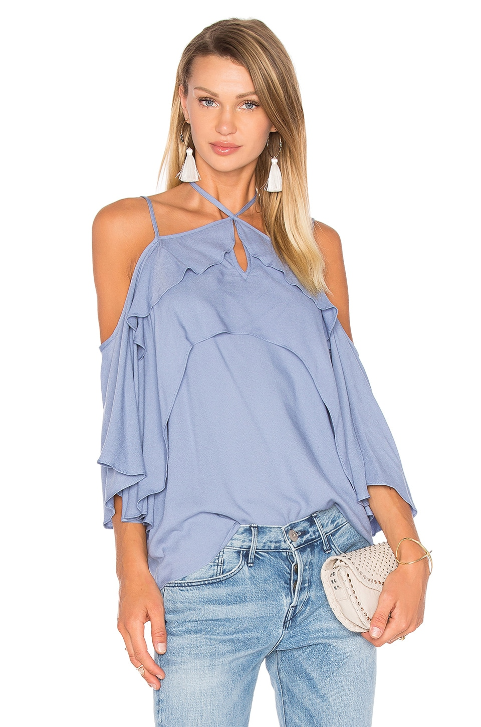 Ella Moss Stella Cold Shoulder Top in Periwinkle