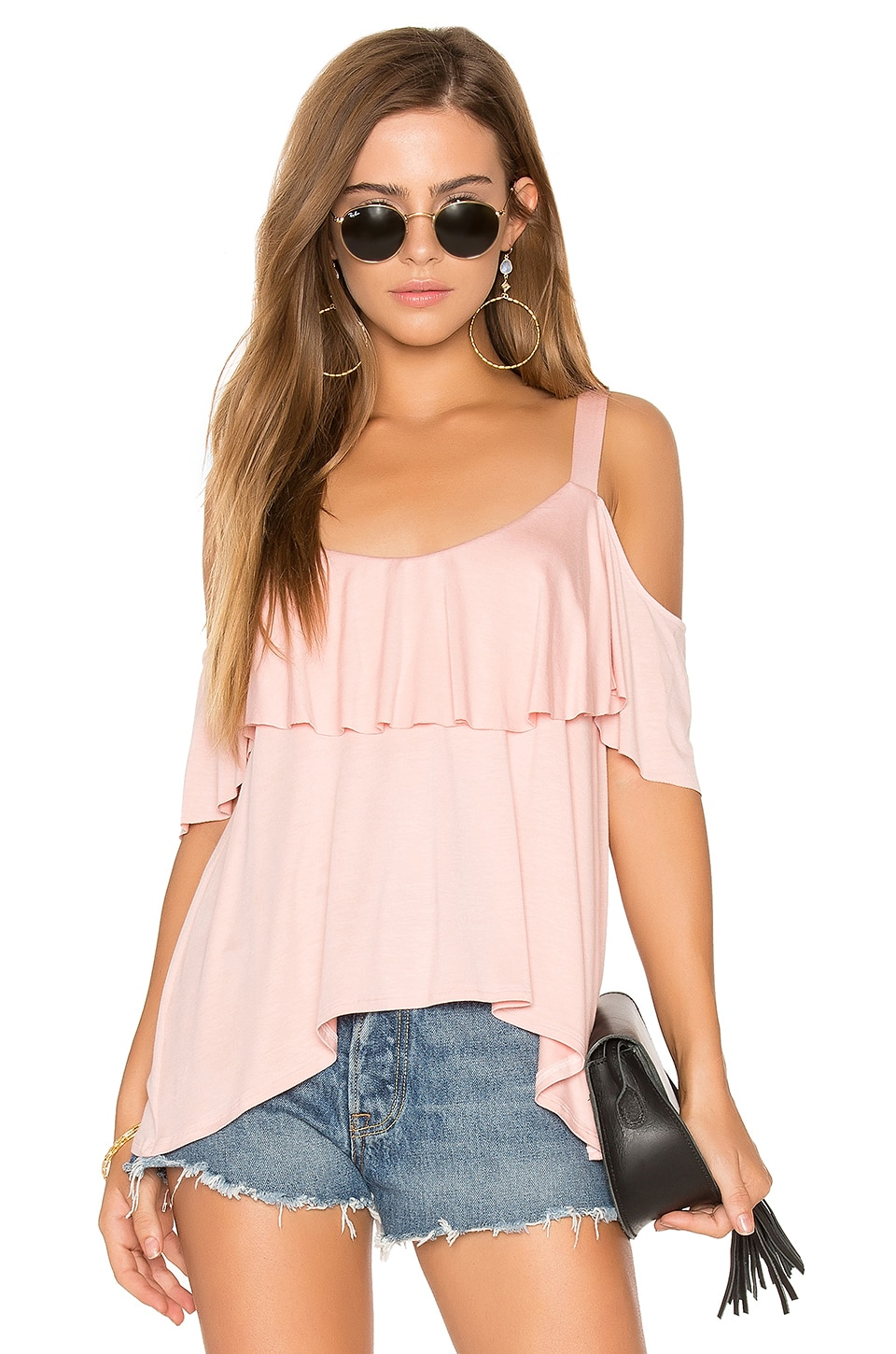 Ella Moss Bella Cold Shoulder Top in Powder Pink