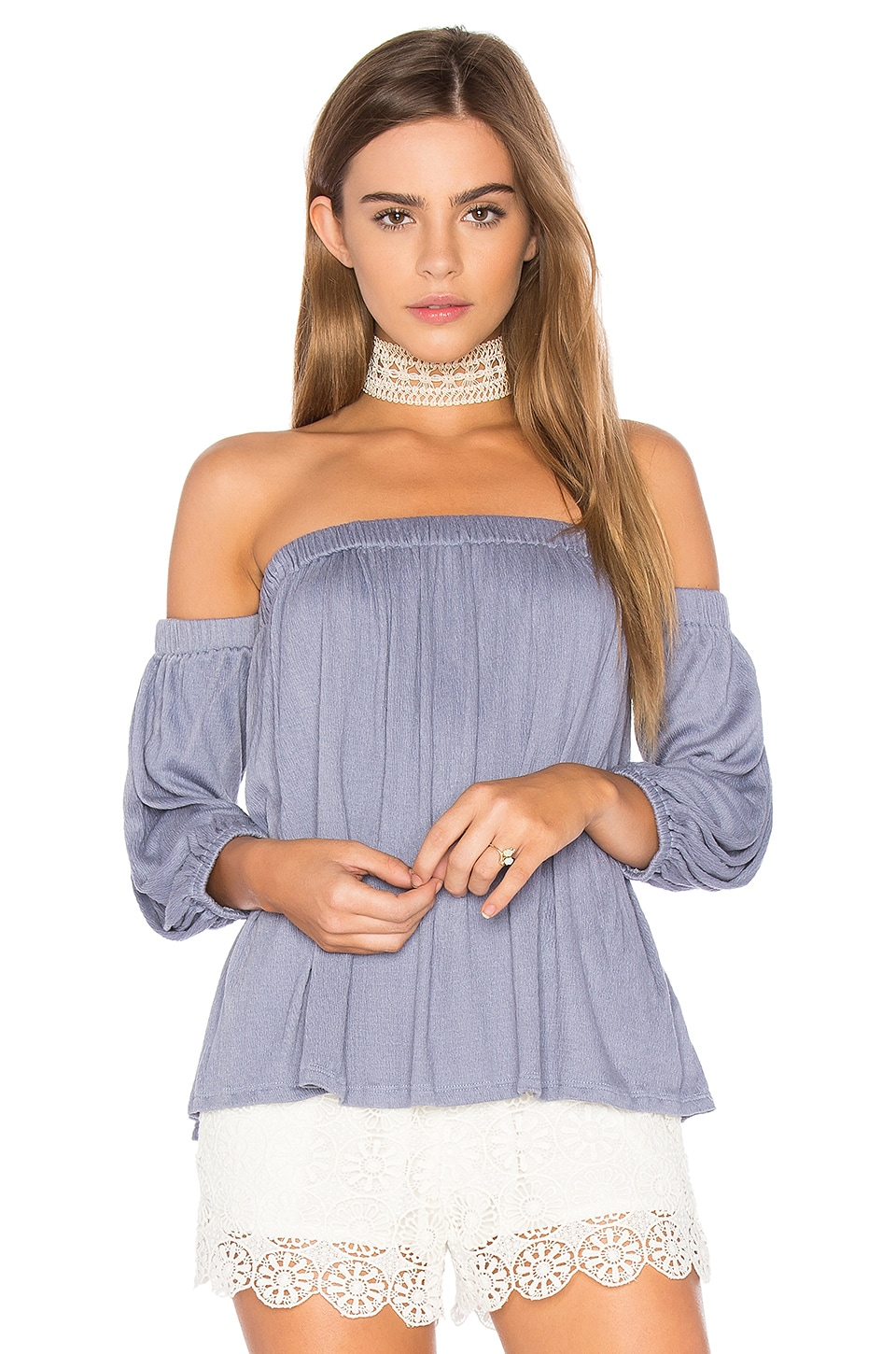 Ella Moss Gioannia Off Shoulder Top in Storm Blue