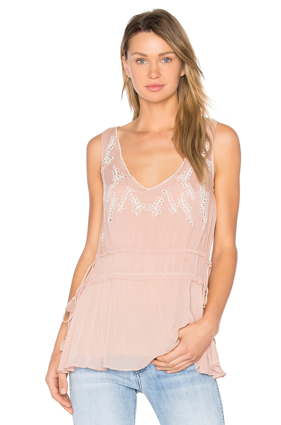 Ella Moss Trellis Vine Top in Faded Blush