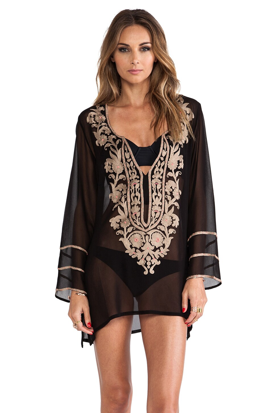 Ella Moss Belle Floral Tunic in Black