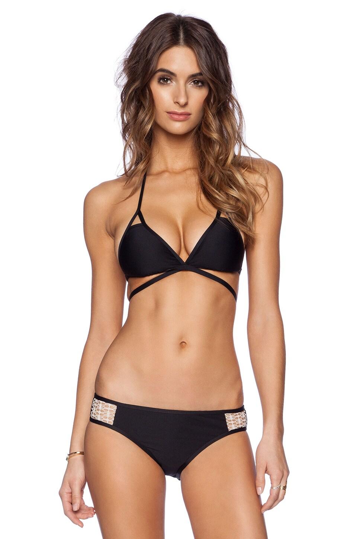 Ella Moss Solid Triangle Bikini Top in Black