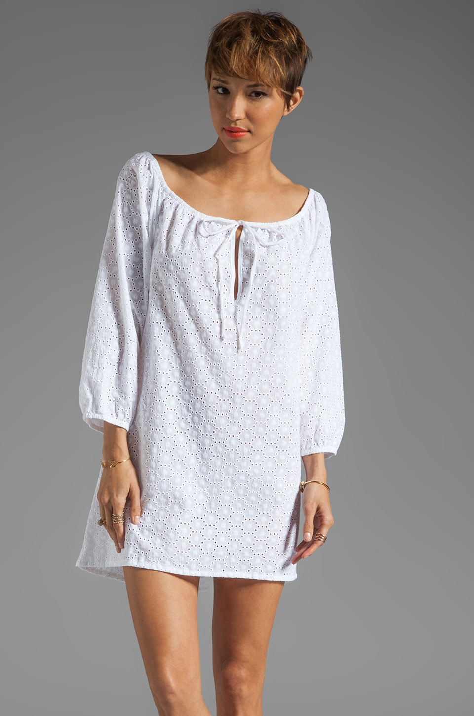 Ella Moss Trellis Cover Up in White