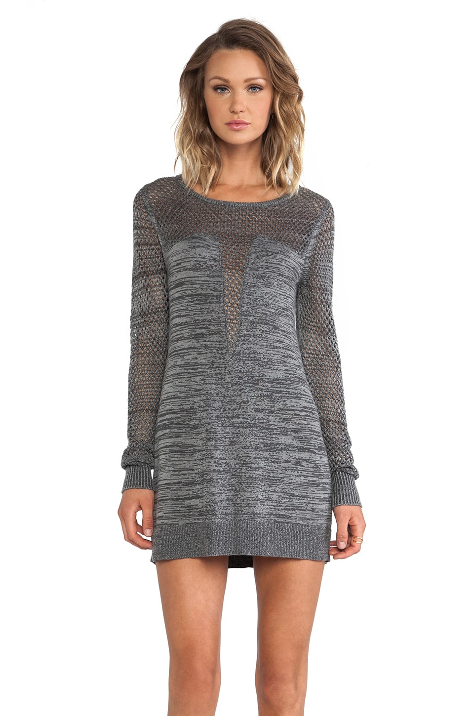 ELLIATT Duo Knit Dress in Charcoal & Grey Marle