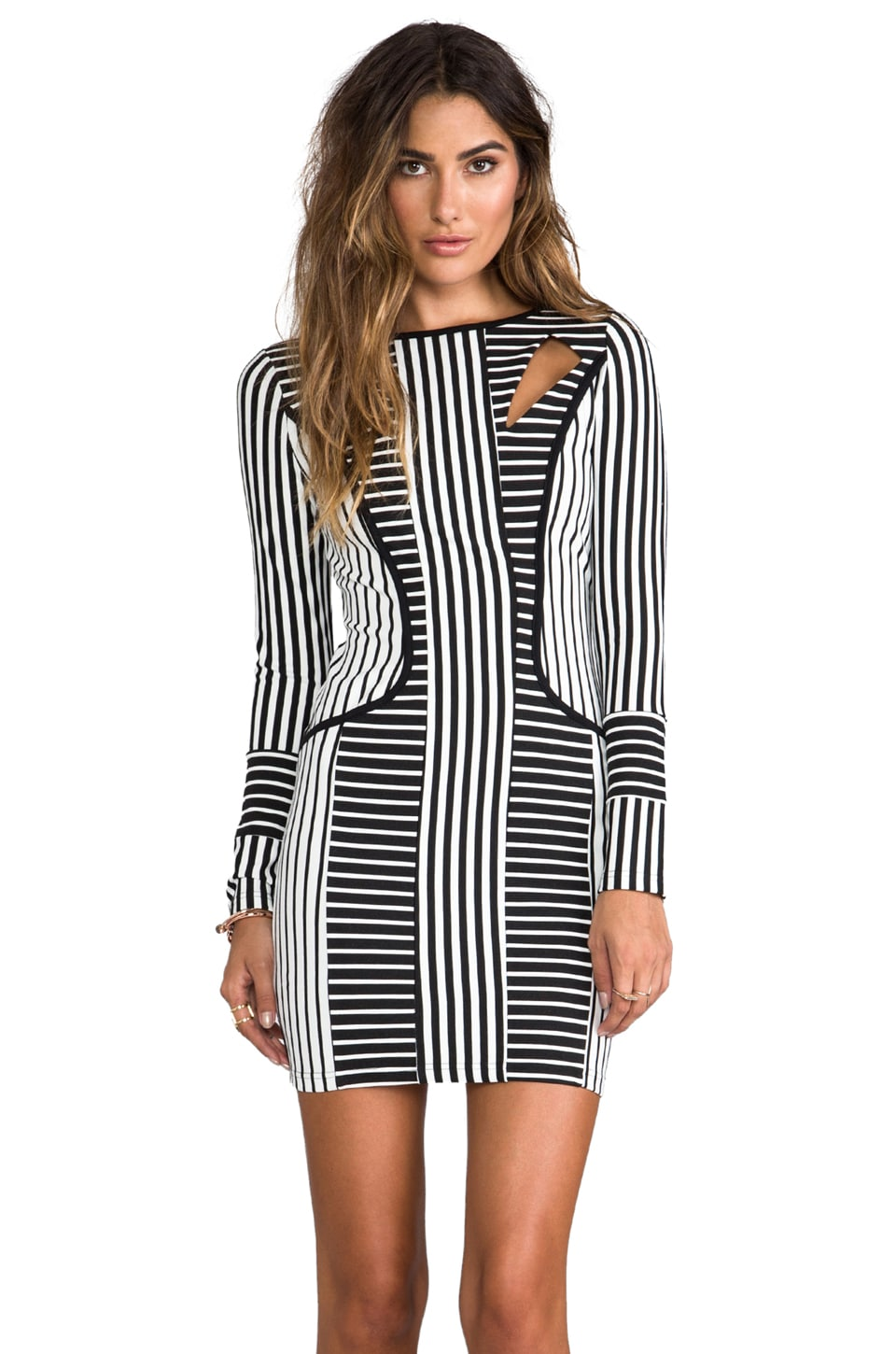 ELLIATT Stripe Illusions Dress en Noir/Blanc
