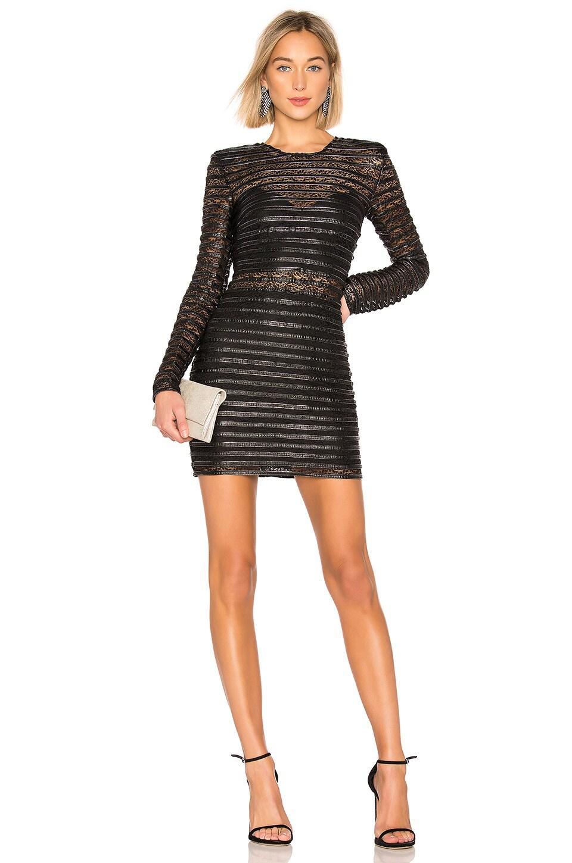 98cc6e1835242 Elliatt Cyanite Long-Sleeve Sheer Striped Mini Dress In Black ...