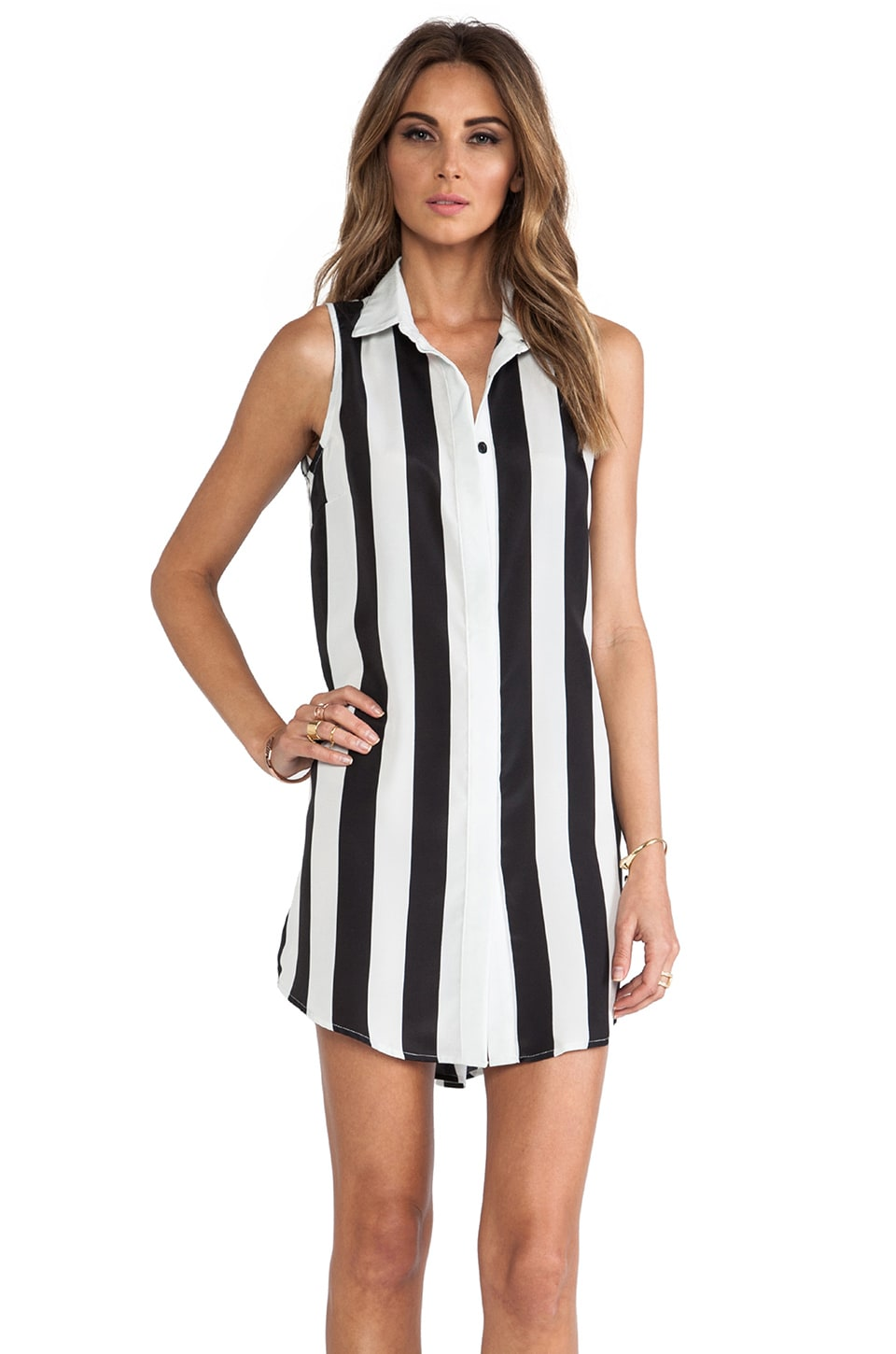 ELLIATT Aspect Shirt Dresse in Black & White Strip