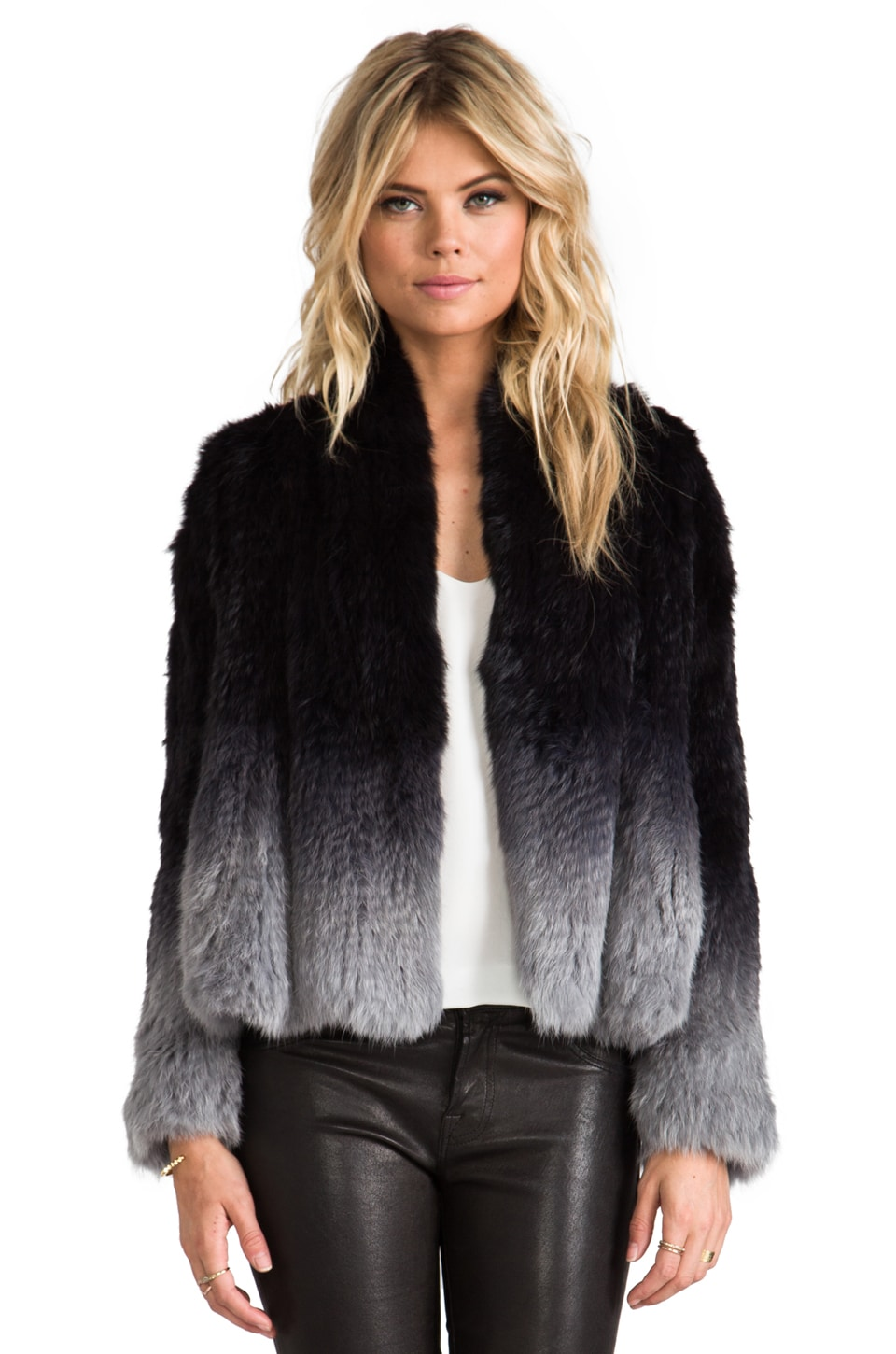 ELLIATT Angel Rabbit Fur Jacket in Grey Dip Dye