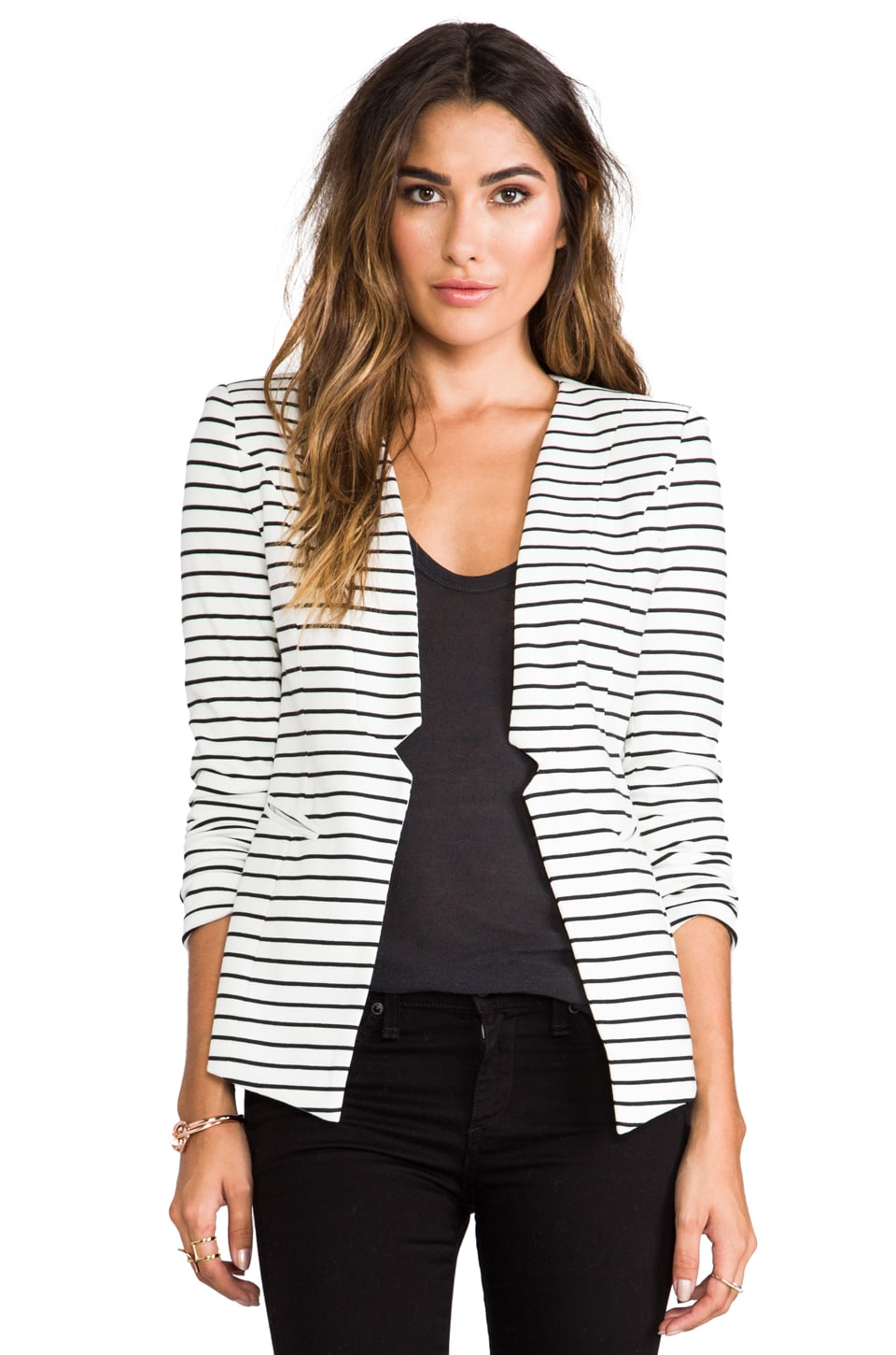 ELLIATT Sleek Stripe Blazer in White/Black