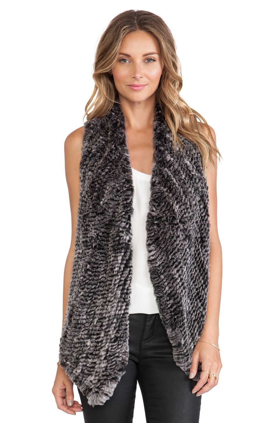 ELLIATT Rabbit Fur Vest in Sandstorm