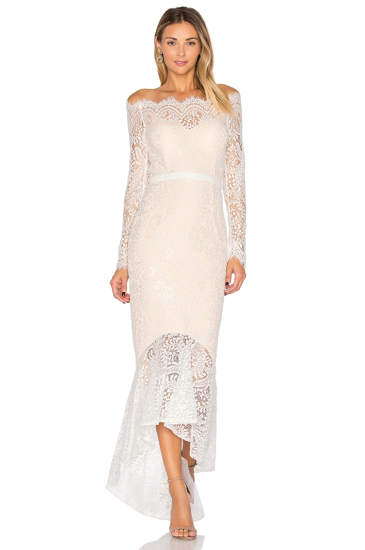 Elle Zeitoune Zeitoune Marchesa Gown in White