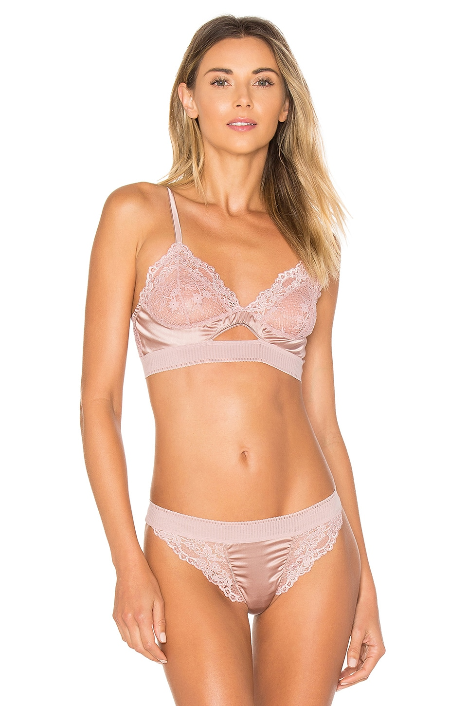 Lilly Silk & Lace Triangle Soft Cup Cut Out Bra by Else