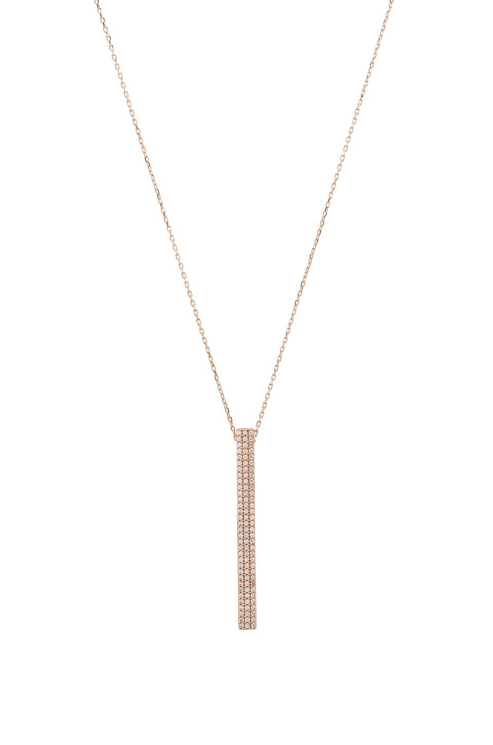 Ettika Luxe Long Bar Necklace in Rose Gold