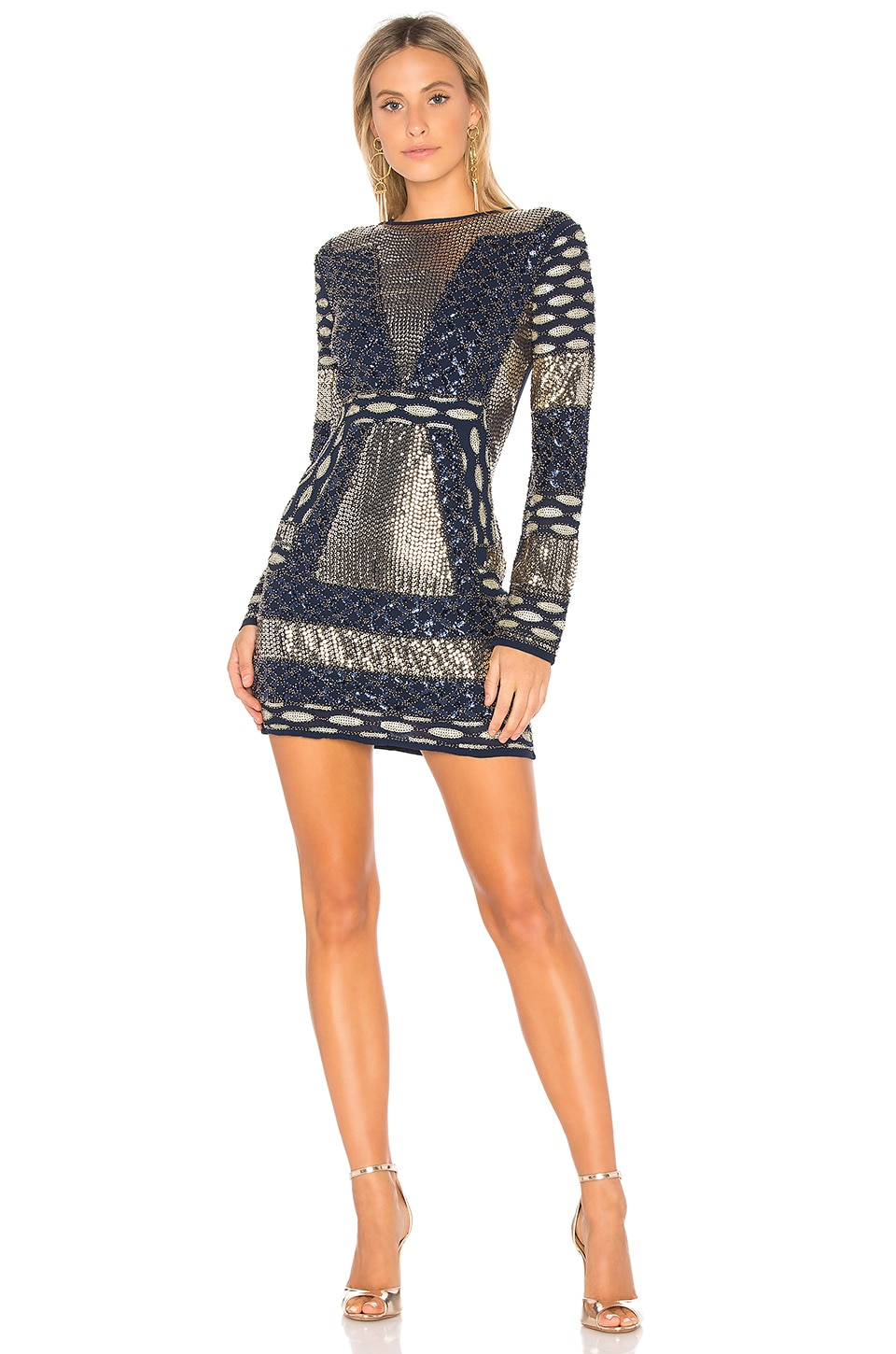 Endless Rose Sequin Mini Dress in Midnight & Gold