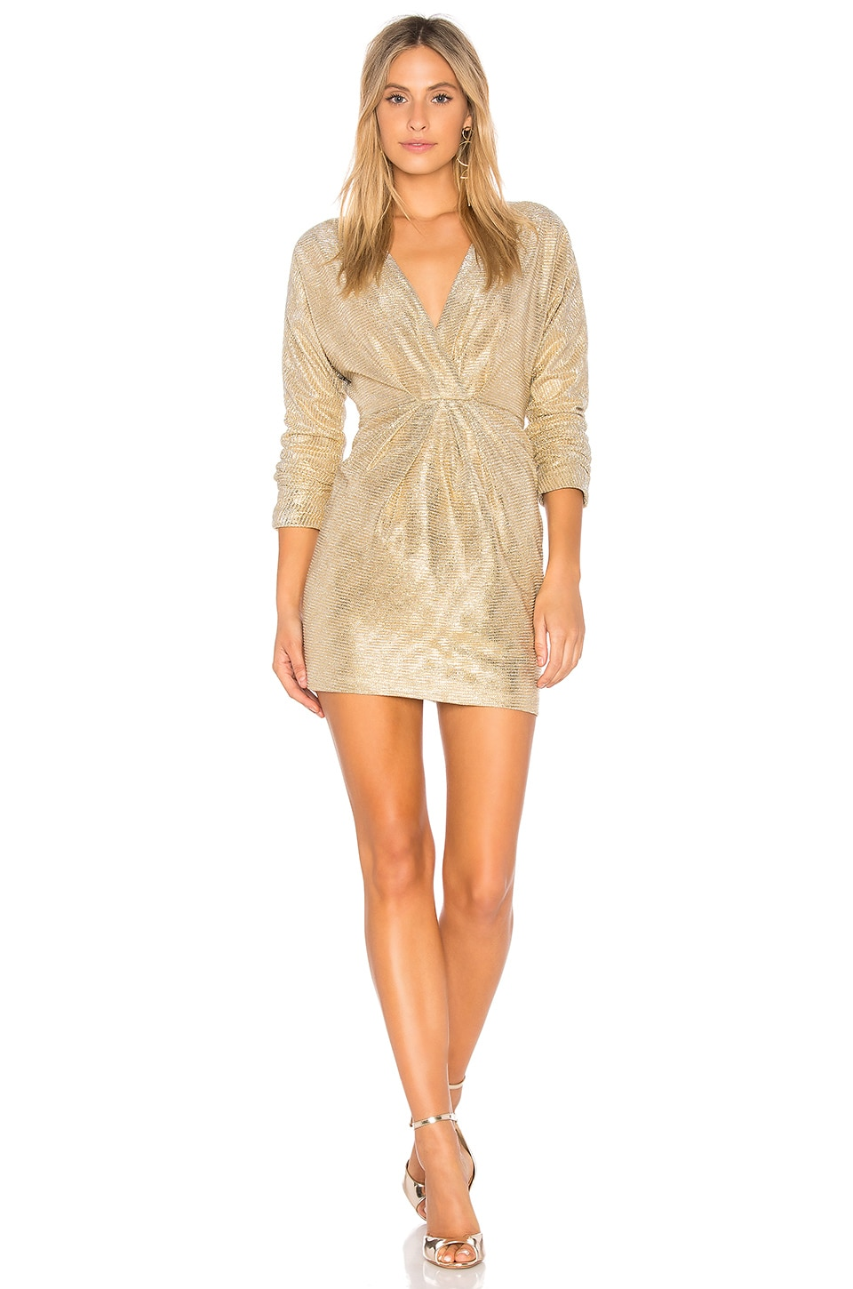 Endless Rose Surplice Dress in Gold
