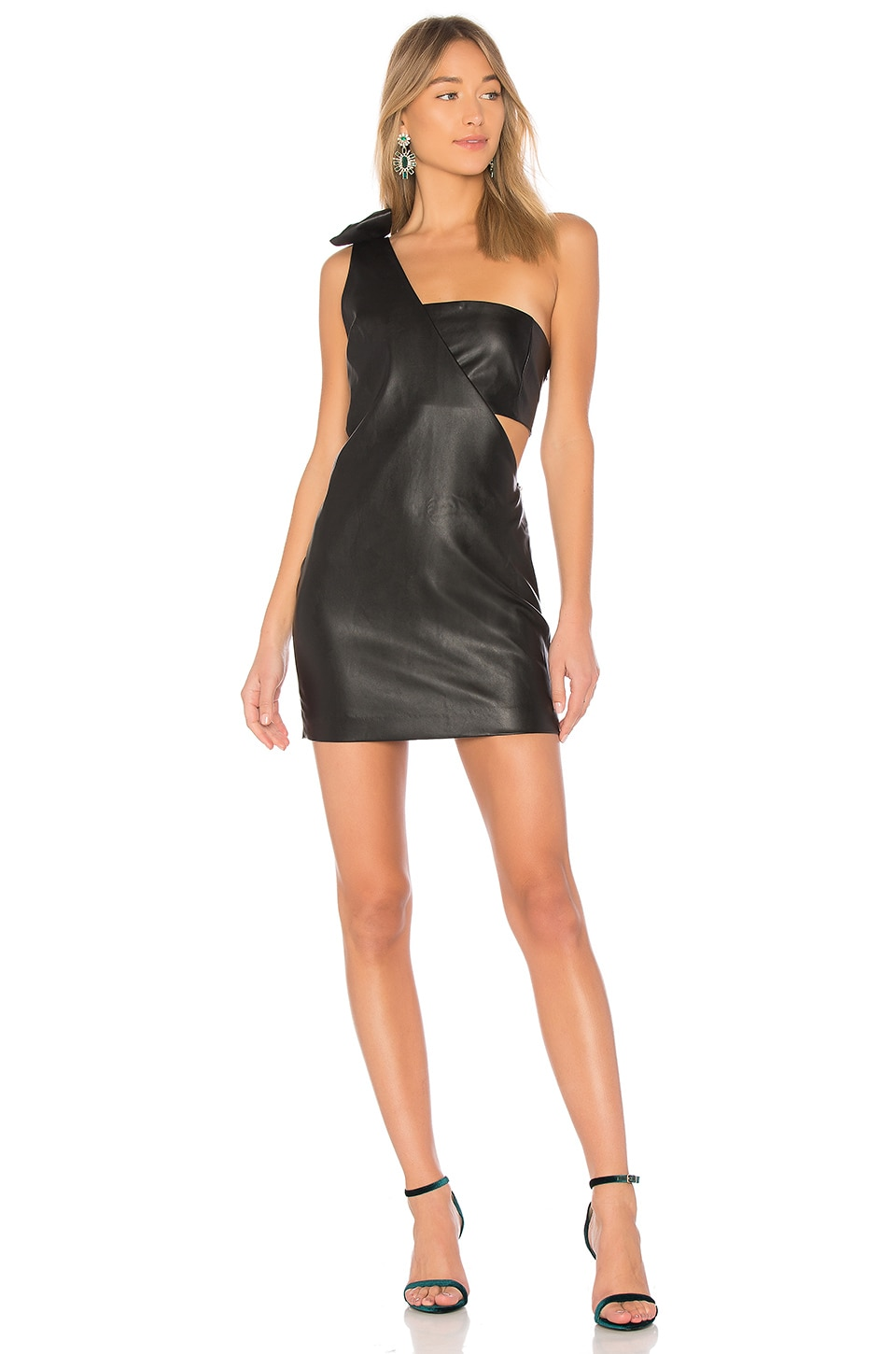 Endless Rose X REVOLVE One Shoulder Faux Leather Dress in Black