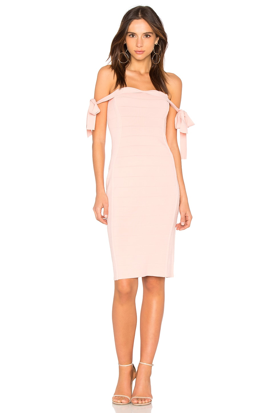 Endless Rose Off the Shoulder Dress in Nude Pink
