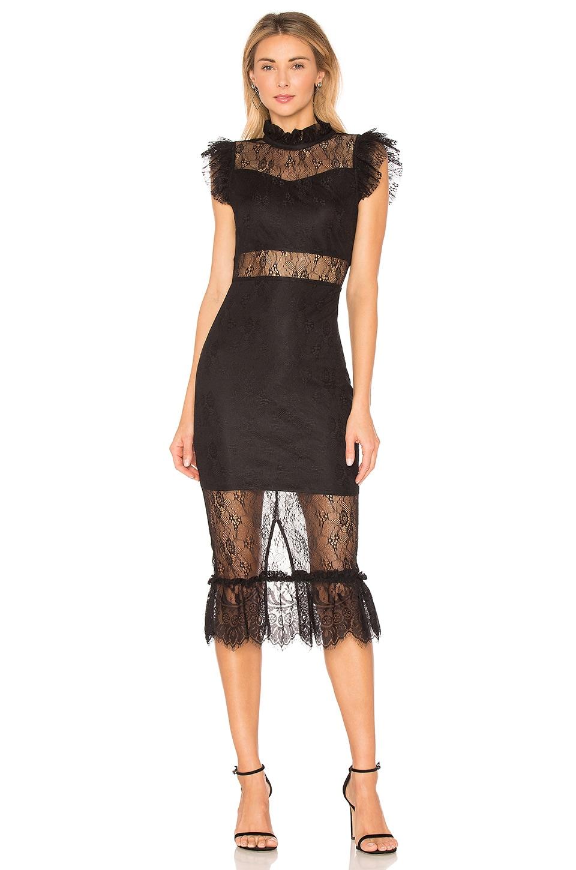 Endless Rose Lace Midi Dress in Black