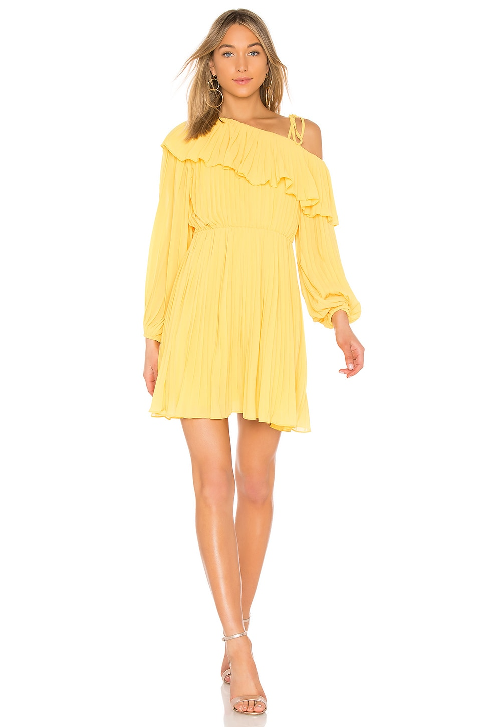 Endless Rose Pleated One Shoulder Dress in Lemon