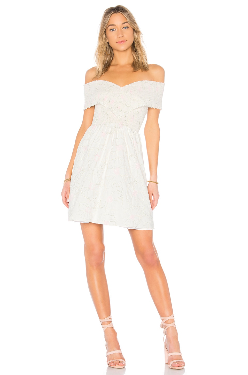 Endless Rose Off the Shoulder Dress in Off White
