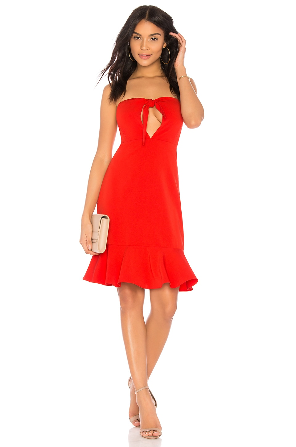 Endless Rose Bow Tie Strapless Dress in Chili
